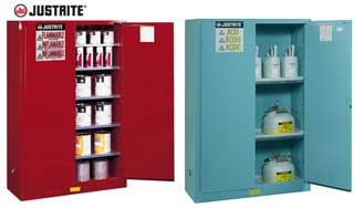 takach press - justrite flammable, acid, storage, cabinets, safety